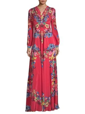 Tropical Floral-Print Silk Dress in Pink