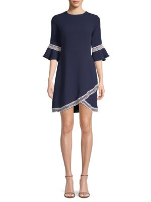 Val Tulip-Sleeve Dress W/ Contrast Trim, Navy