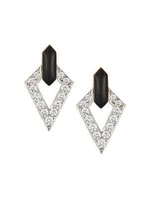 David Webb Motif 18k Yellow Gold, Platinum, Double Diamond & Black Enamel Earrings