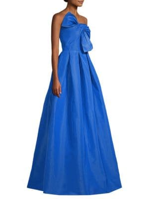Leora Strapless Silk Ball Gown W/ Bow, Imperial Blue