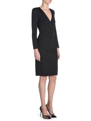 Long Sleeve V Neck Drape Dress by Giorgio Armani