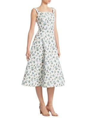 Polly Floral-Jacquard Midi Dress, White Blue