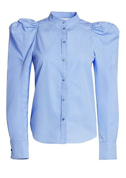 Image of Chloe has reinvented the ubiquitous button-down shirt. This version is designed with voluminous puffed sleeves and a high neckline. Made from structured cotton poplin, we suggest pairing this shirt with simple trousers to showcase its striking shape. High