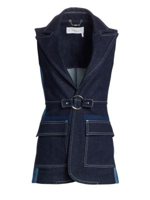Peak-Lapel Two-Pocket Denim Vest, Ultra Marine