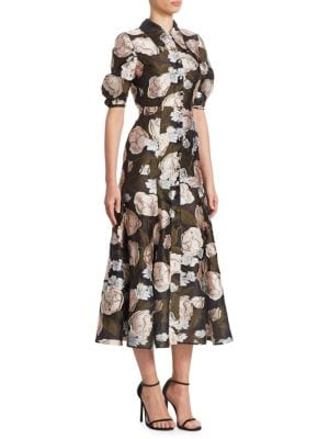 ERDEM Gisella Fil Coupé Organza Midi Dress in Black
