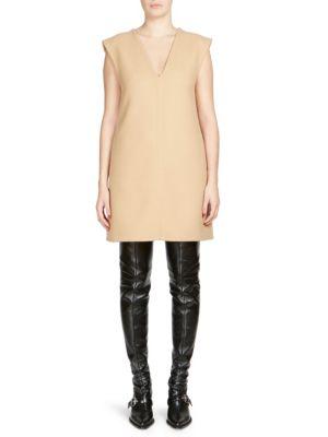 Sleeveless V-Neck Wool Jumper Dress in Neutrals