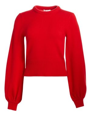 Iconic Cashmere Bubble-Sleeve Sweater, Earthy Red