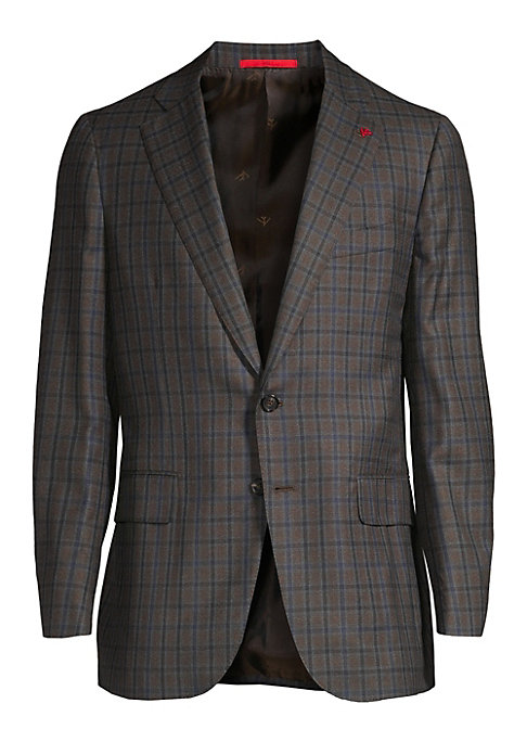 Image of From the Saks IT LIST. THE JACKET. The wear everywhere layer that instantly dresses you up. MAD FOR PLAID. See the traditional check in dozens of new ways. Wool sportcoat with contrasting plaid pattern. Notch lapels with buttonhole. Long sleeves. Buttoned
