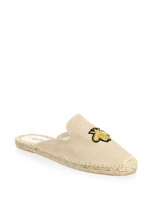 Beige Espadrille Mules With Bee Embroidery - Beige, Sand