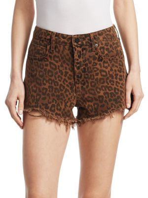 Alexanderwang.T Bite Denim Shorts In Tan Leopard in Brown
