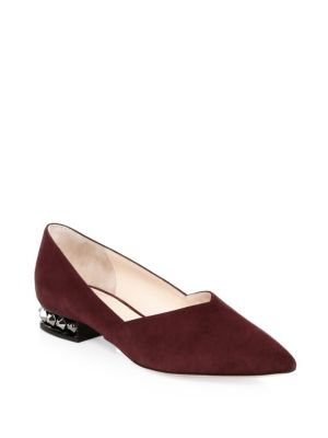 Suzi Point-Toe Suede Embellished-Heel Flats in Aubergine from FORZIERI