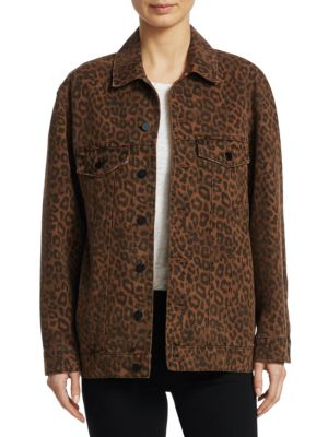 Alexanderwang.T Daze Oversize Denim Jacket In Tan Leopard in Brown