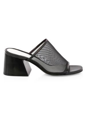 Emmy Mesh Block-Heel Slide Sandal in Black