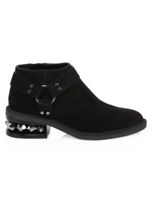 Suzi Crystal-Heeled Suede Ankle Boots in Black