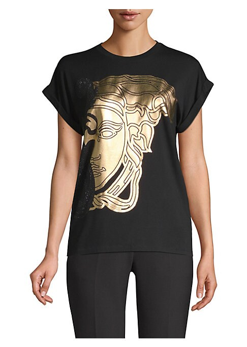 Image of A classic tee is updated with one of Versace's most iconic logos in metallic textures. With a lightweight construction, this short sleeve has a boxy, relaxed silhouette. Crewneck. Short sleeves. Pull-over style. Elastane/viscose. Dry clean. Made in Italy.