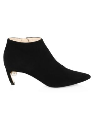 Mira Suede Low Pearl-Heel Booties, Black