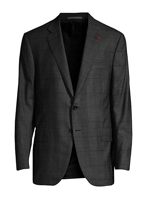 """Image of Classic check print offers timeless element to jacket. Wool. Dry clean. Made in Italy. JACKET. Notch lapels with embroidered logo. Long sleeves. Button front. Waist flap pockets. About 30"""" from shoulder to hem. PANTS. Zip fly with button closure. Rise, ab"""