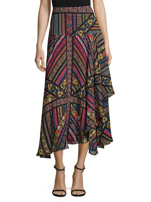 ETRO Asymmetric Printed Silk-Georgette Midi Skirt in Black