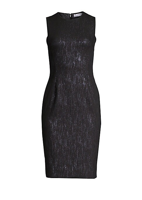 Image of Versace's sheath dress is detailed with metallic fibers that shimmer and catch the light. Knitted for a close fit, it's subtly defined with shirring at the waist and bust darts for a more flattering silhouette. Crewneck. Sleeveless. Back zip closure. Cinc