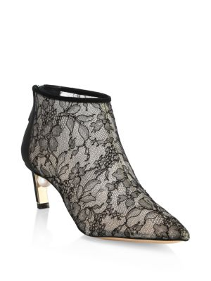 Mira Faux Pearl-Embellished Lace And Suede Ankle Boots in Black
