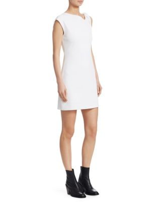 Twist-Front Stretch-Jersey Mini Dress, Natural White