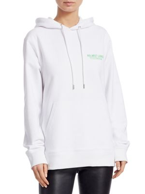 Printed French Cotton-Terry Hoodie in White
