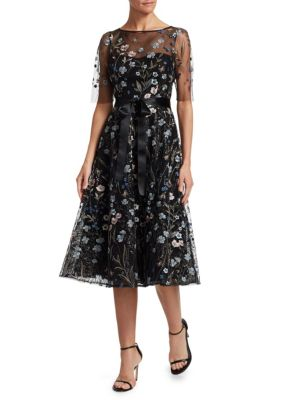 TERI JON BY RICKIE FREEMAN Embroidered Floral Fit-&-Flare Dress in Multi