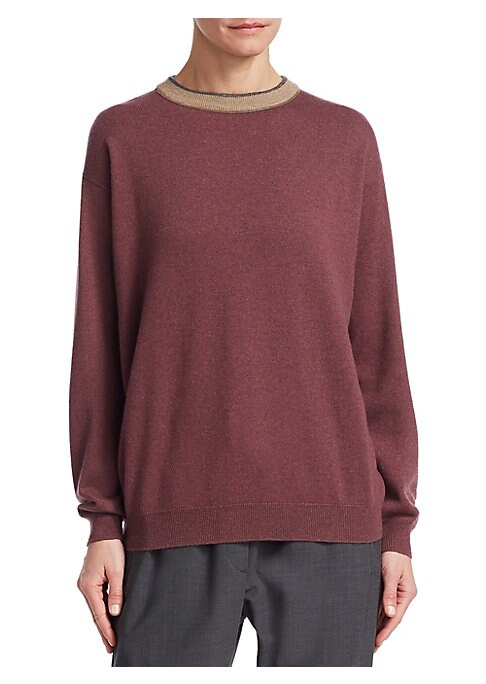 Image of A contrast collar edged in subtle metallic make this pullover sweater extra special. An execution in pure cashmere speaks to its level of luxury. Crewneck. Long sleeves. Ribbed cuffs and hems. Pullover style. Dropped shoulders. Cashmere. Hand wash. Import