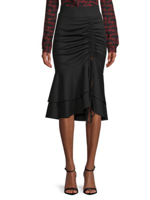 Flutter-Hem Ruched-Drawstring Skirt in Black