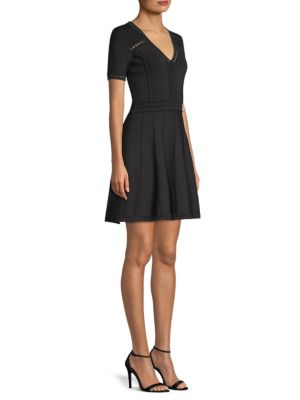 Textured Pointelle Fit & Flare Dress, Black