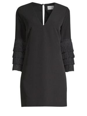 Nicole Fringe-Cuff Shift Dress in Black