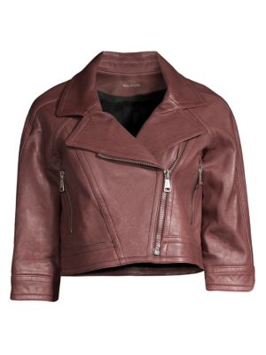 YIGAL AZROUËL Cropped Leather Moto Jacket in Red