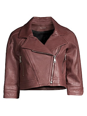 Image of This moto jacket exudes rustic edge. Cropped in silhouette, this moto jacket is versatile in form and fit. Notch lapels Elbow-length sleeves Asymmetric zip-front Side zip pockets Leather finish Leather Dry clean by leather specialist Imported SIZE & FIT C