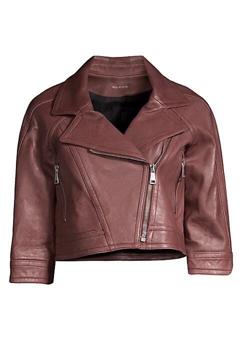 Image of This pebbled moto jacket exudes rustic edge. Cropped in silhouette, this moto jacket is versatile in form and fit. Notch lapels. Elbow-length sleeves. Asymmetric zip-front. Side zip pockets. Pebbled leather finish. Leather. Dry clean by leather specialist