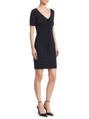 Tie-Front Short-Sleeve Mini Dress, Black