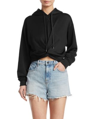 Cropped Twist-Front French Terry Hoodie, Black
