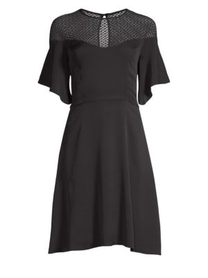 Jan Mesh Flare Dress, Black