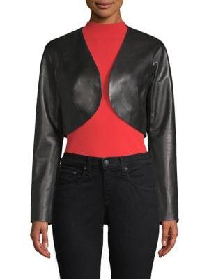 Cropped Leather Bolero Jacket, Black