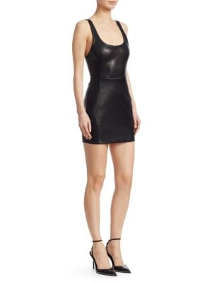 Fitted Leather Scoop-Neck Mini Dress, Black