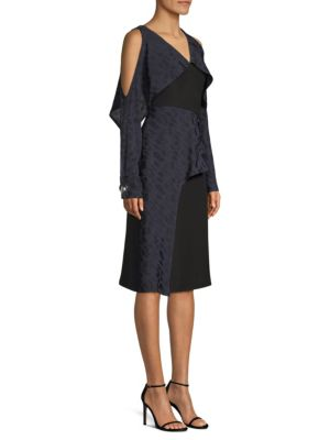 Yigal Azrou L Geometric Cold Shoulder Ruffle Dress