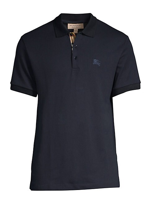 "Image of Embroidered logo elevates this pique polo to iconic status. Polo collar. Short sleeves. Rib-knit cuffs. Three-button placket. Step hem. Cotton. Machine wash. Imported. SIZE & FIT. About 28"" from shoulder to hem."