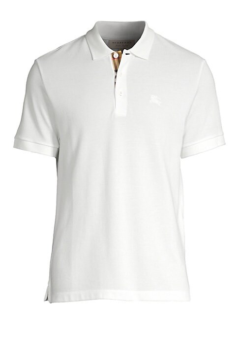"""Image of Minimalist pique polo features brand's iconic embroidered logo at the chest. Polo collar. Short sleeves. Three-button placket. Step hem. Cotton. Machine wash. Imported. SIZE & FIT. About 28"""" from shoulder to hem."""