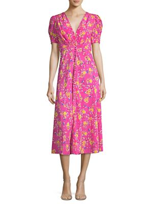 Lea Floral-Print Silk Crepe De Chine Midi Dress, Shocking Pink