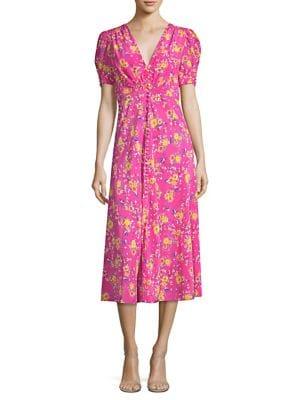 Lea Floral-Print Silk Crepe De Chine Midi Dress, Shocking Pink