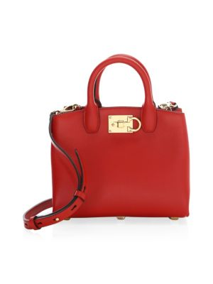 The Mini Studio Leather Tote - Red in Lipstick Red