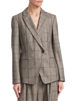 Sequin-Embellished Prince Of Wales Checked Wool Blazer, Prune