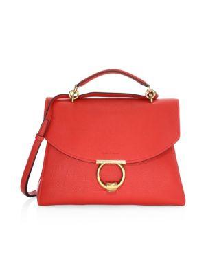 Salvatore Ferragamo Medium Gancino Vela Top Handle Leather Bag