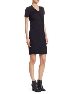 Knot Twisted Crewneck Tee Dress in Black