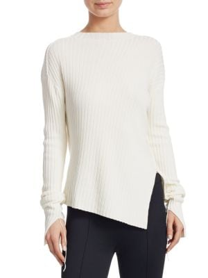 HELMUT LANG Ribbed Crewneck Split Sweater in White