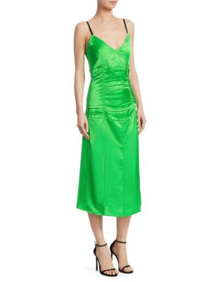 Ruched Stretch-Satin Midi Dress, Poison